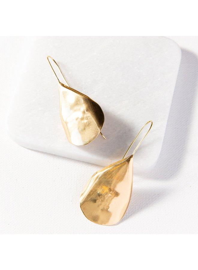 Brass Solid Organic Drop Earring