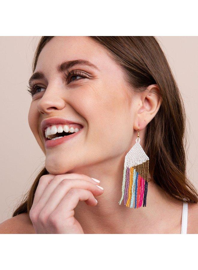 4in Stripe Fringe Earring