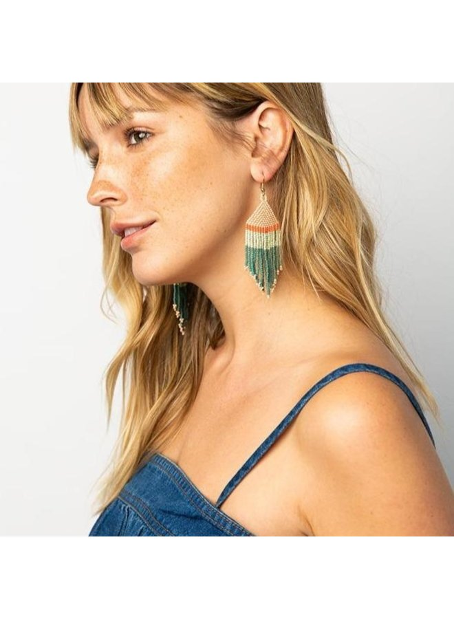 Teal Pink Mint with Coral Stripe Fringe Earring