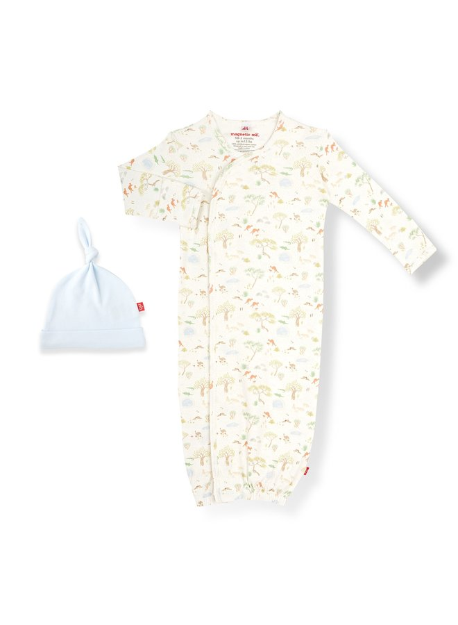Land Down Under Organic Cotton Gown and Hat Set