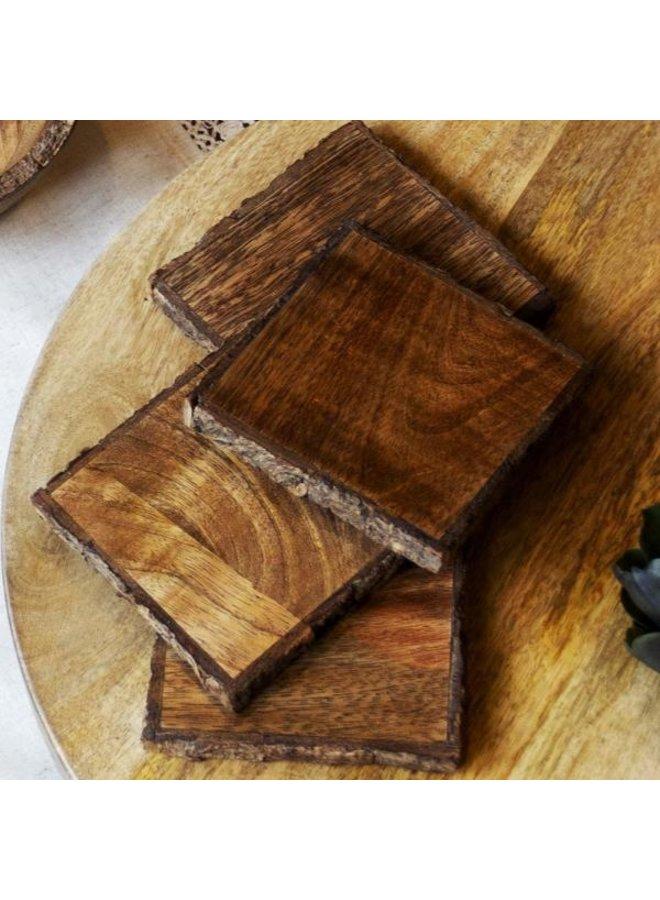 Artisan Wood Coasters Set/4/Smoky