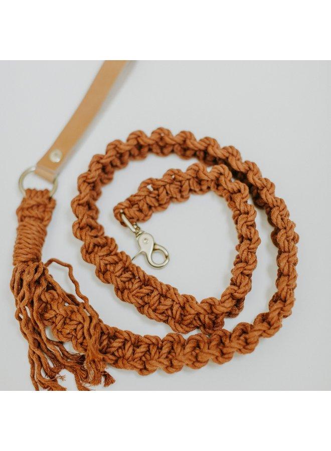 Macrame Dog Leash Beige Leather/Tobacco Rope