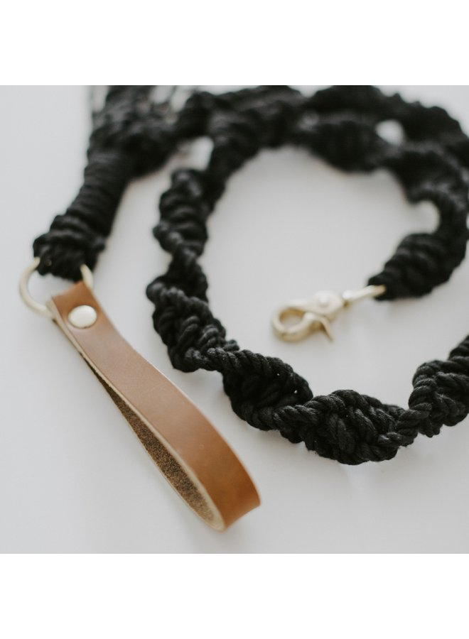 Macrame Dog Leash Brown Leather/Black Rope