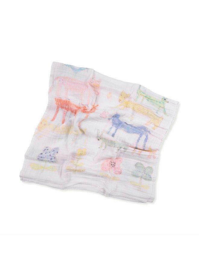 Stacked Animals Swaddle Blanket