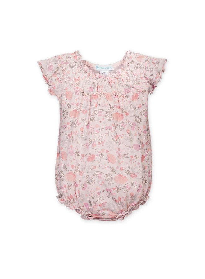 Ruched Bubble Caroline Floral on Coral