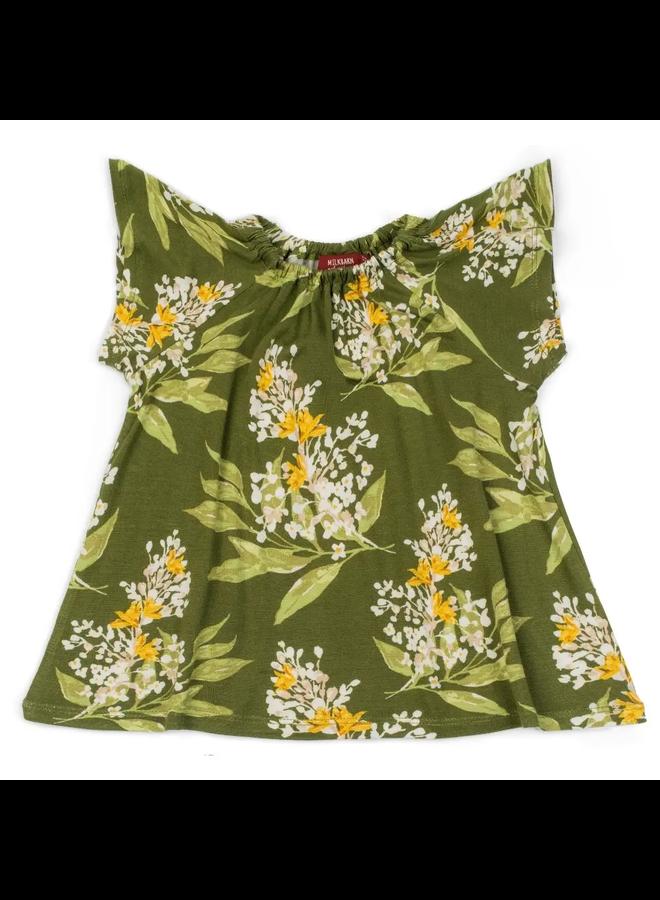 Bamboo Green Floral Dress & Bloomer Set