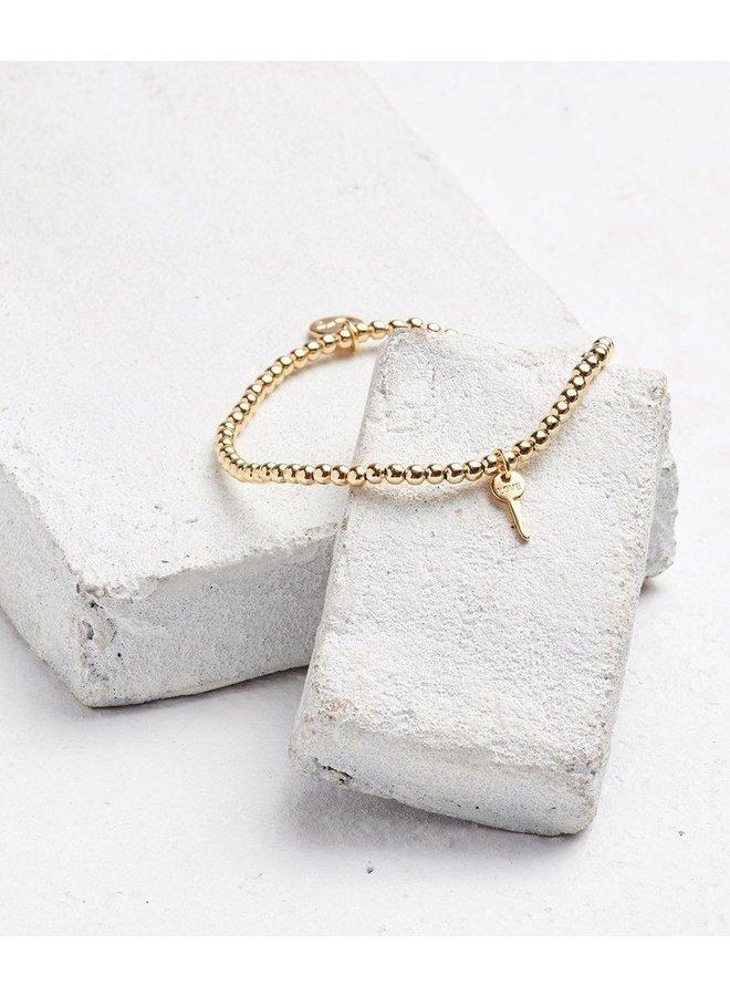 Metallic Bead Mini Key Bracelet