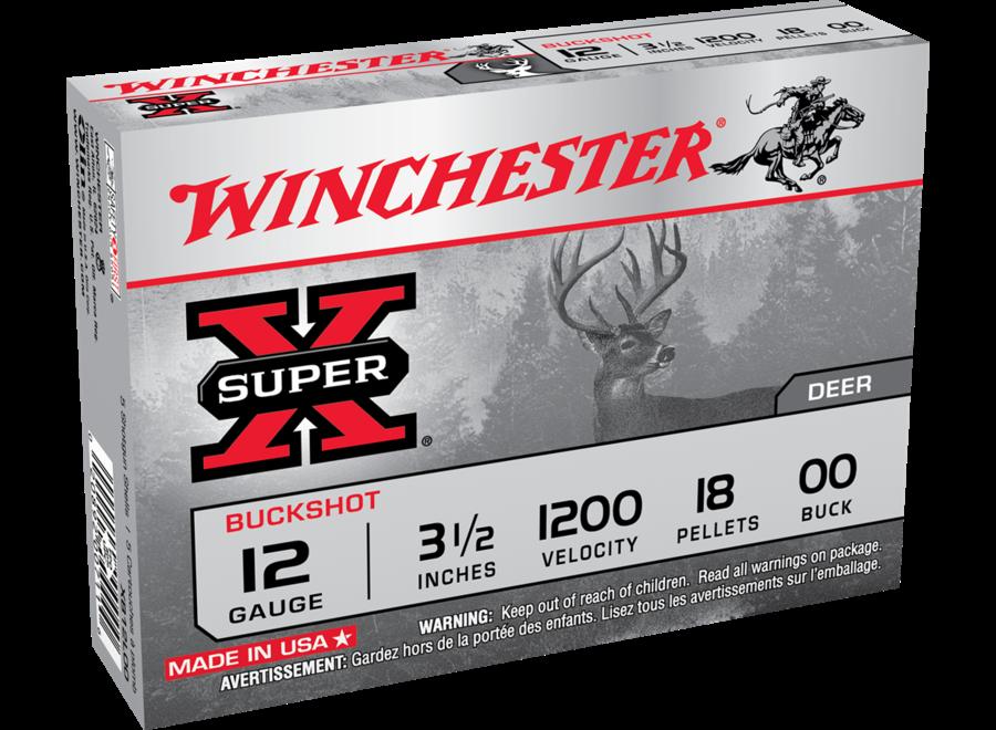 Winchester Super X 12  3.5in 00 Buck Buckshot Shotshells - 5 Rounds - 00 Buck