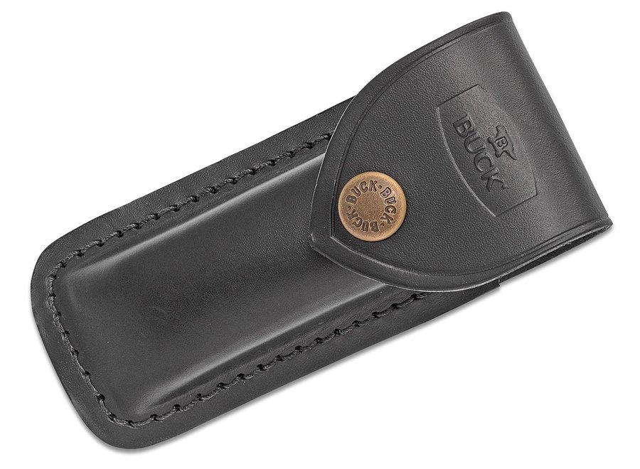 """Buck 112FG Ranger Finger Grooved Folding Hunter Style Lockback 3"""" Blade, Ebony Wood Handles, Brass Bolsters - 2539"""
