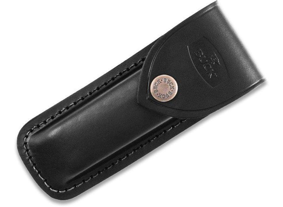"Buck 110 Folding Hunter 3.75"" Plain Blade, Finger Grooved, Ebony Wood Handles, Leather Sheath - 2538"