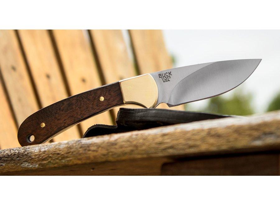 "Buck 113 Ranger Skinner Fixed 3-1/8"" Blade, American Walnut Handles, Black Leather Sheath"