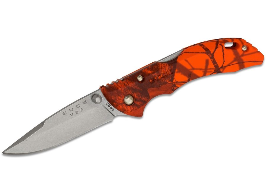"Buck 284 Bantam BBW Folding 2-3/4"" Plain Satin Blade, Mossy Oak Blaze Handles"