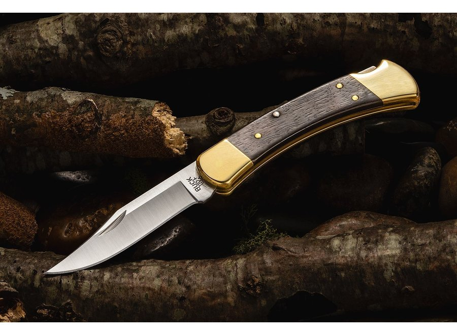 "Buck 110 Folding Hunter 3.75"" Blade, Ebony Wood Handles, Leather Sheath"
