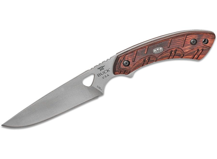 "Buck 538 Open Season Small Game Fixed 4.25"" Satin Blade, Red Wood Handles, Polyester Sheath"