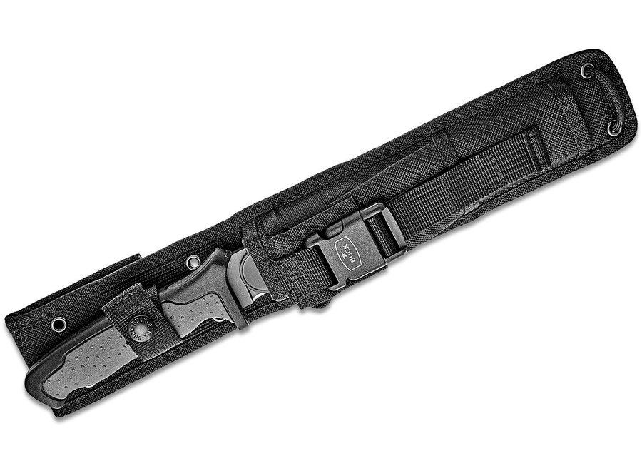 "Buck 651 Nighthawk Hunter Fixed Blade Knife 7.5"" 420HC Sniper Gray Cerakote Drop Point, Black Rubberized Nylon Handles"