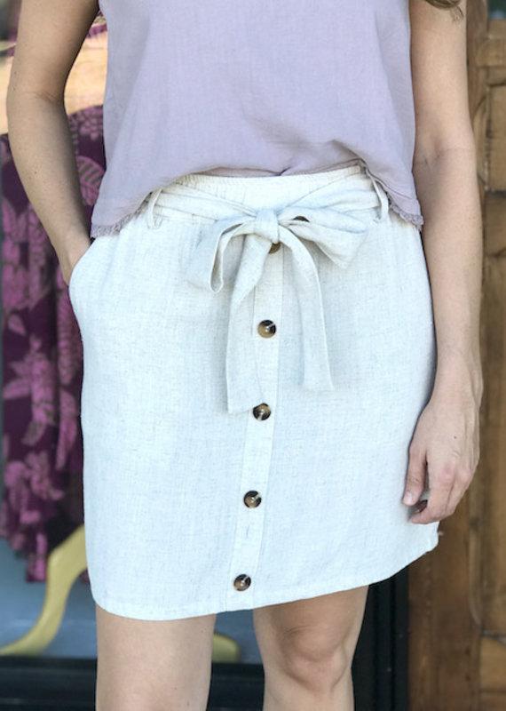 Oatmeal Tie Waist Skirt