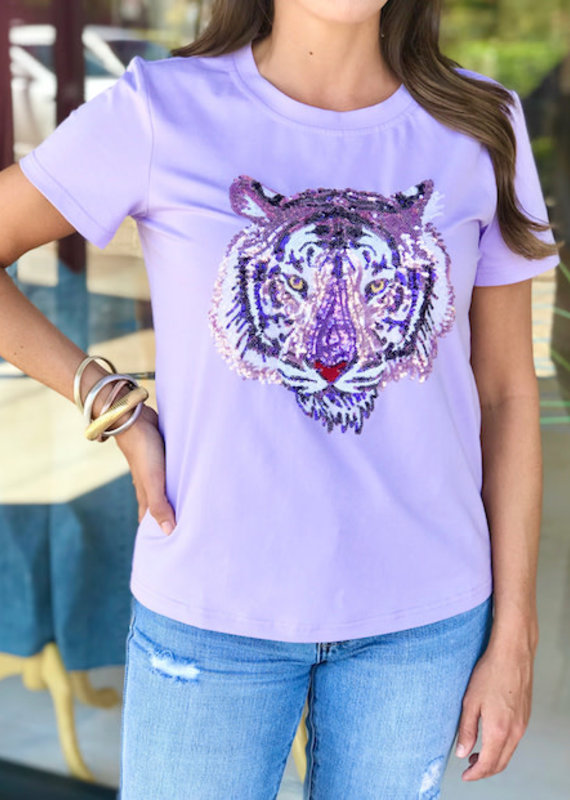 Sparkle City Lavender Tiger Head Tee