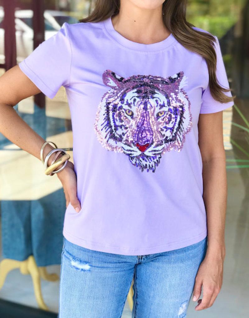 Sparkle City Lavender Tiger Head Tee