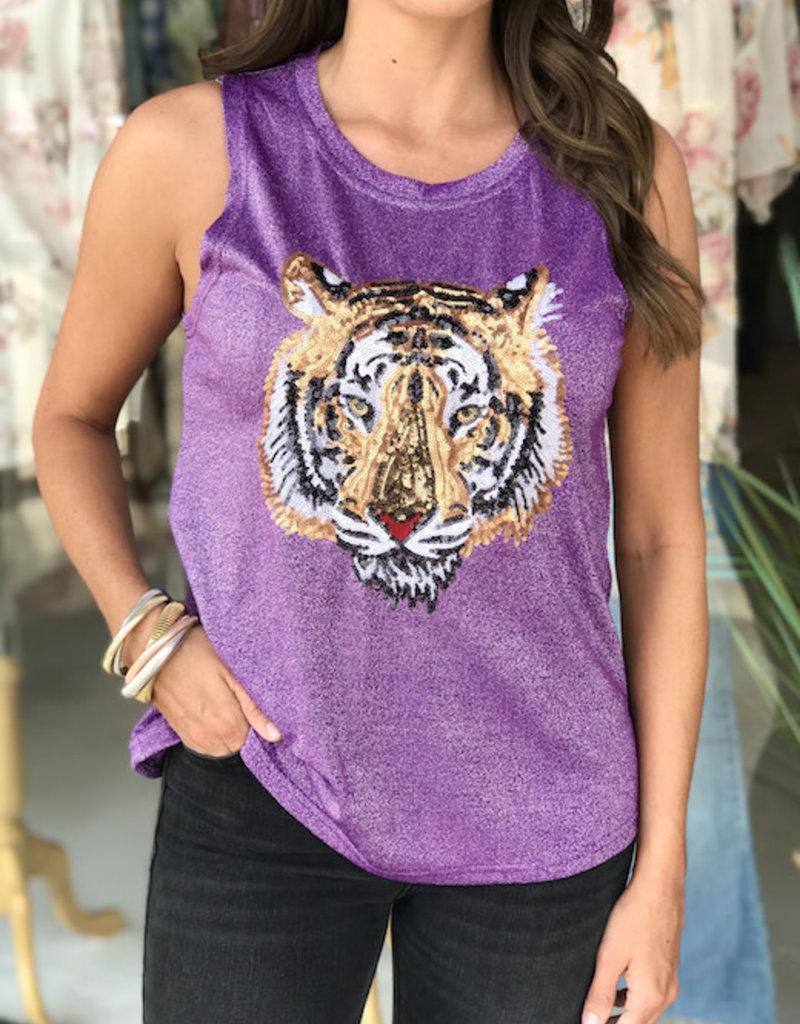 Sparkle City Purple Tiger Head Glitter Tank