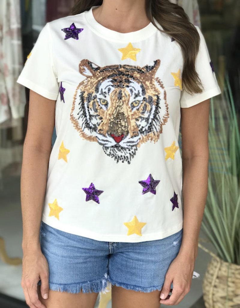 Sparkle City Star Struck Tiger White Tee