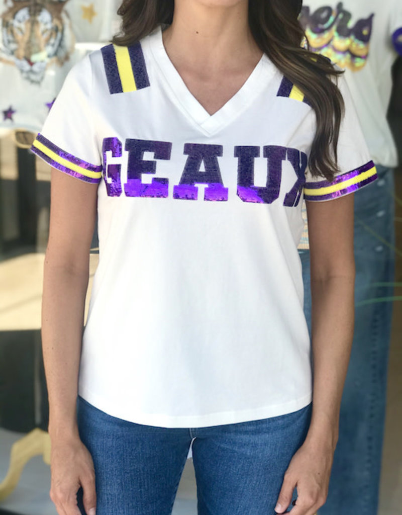 Sparkle City Geaux Sequin Jersey Tee