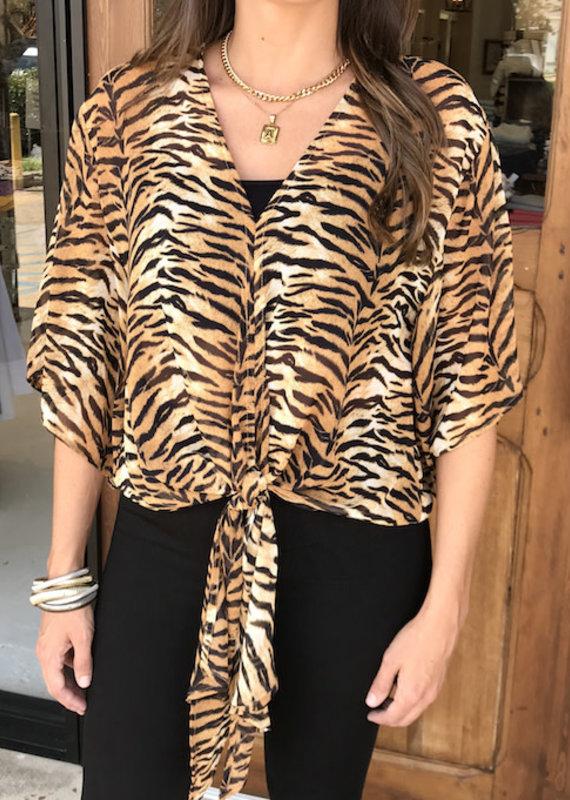 Tiger Tie Kimono Top