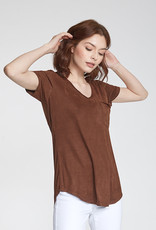 Another Love Phoenix Suede V-Neck Top
