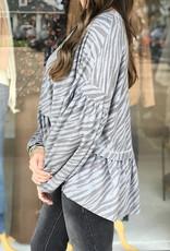 Karlie Zebra Ruffle Oversized Top