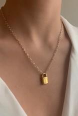 Farrah B Initial Lock Necklace