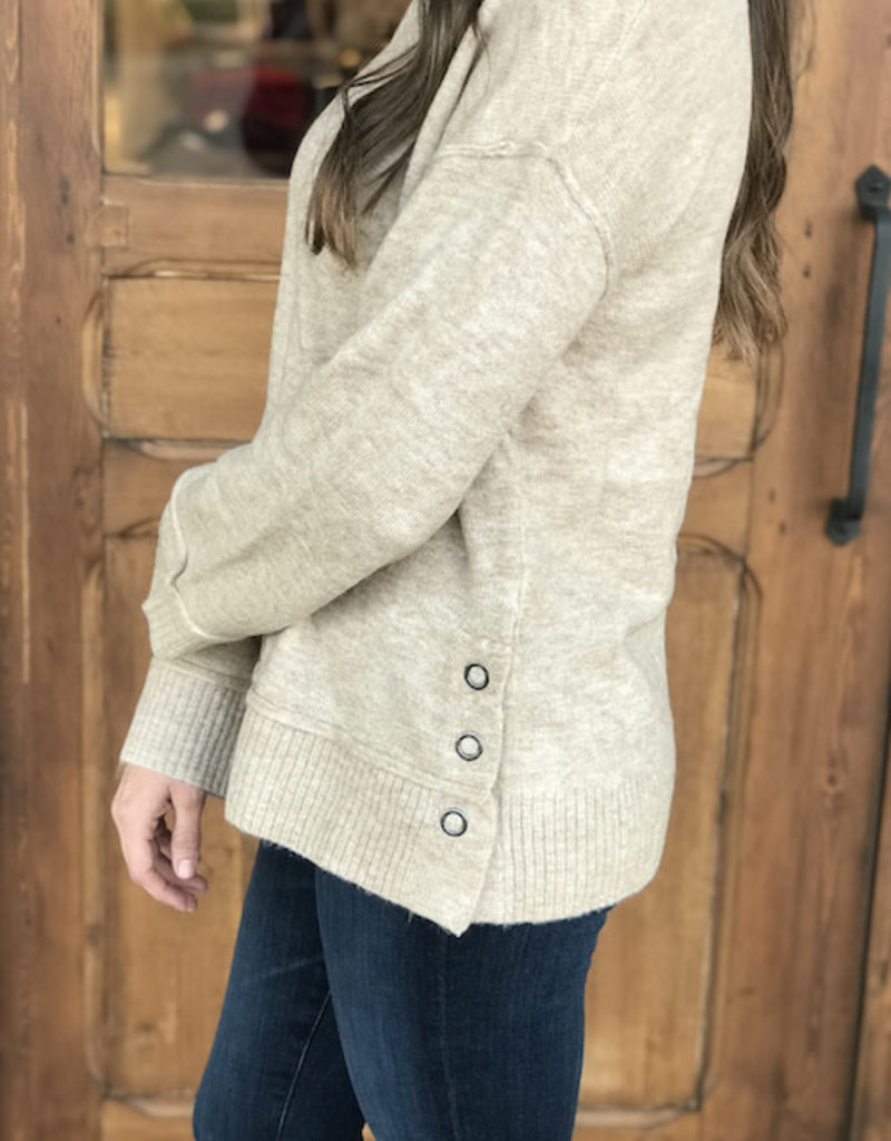 Taupe Side Button Sweater