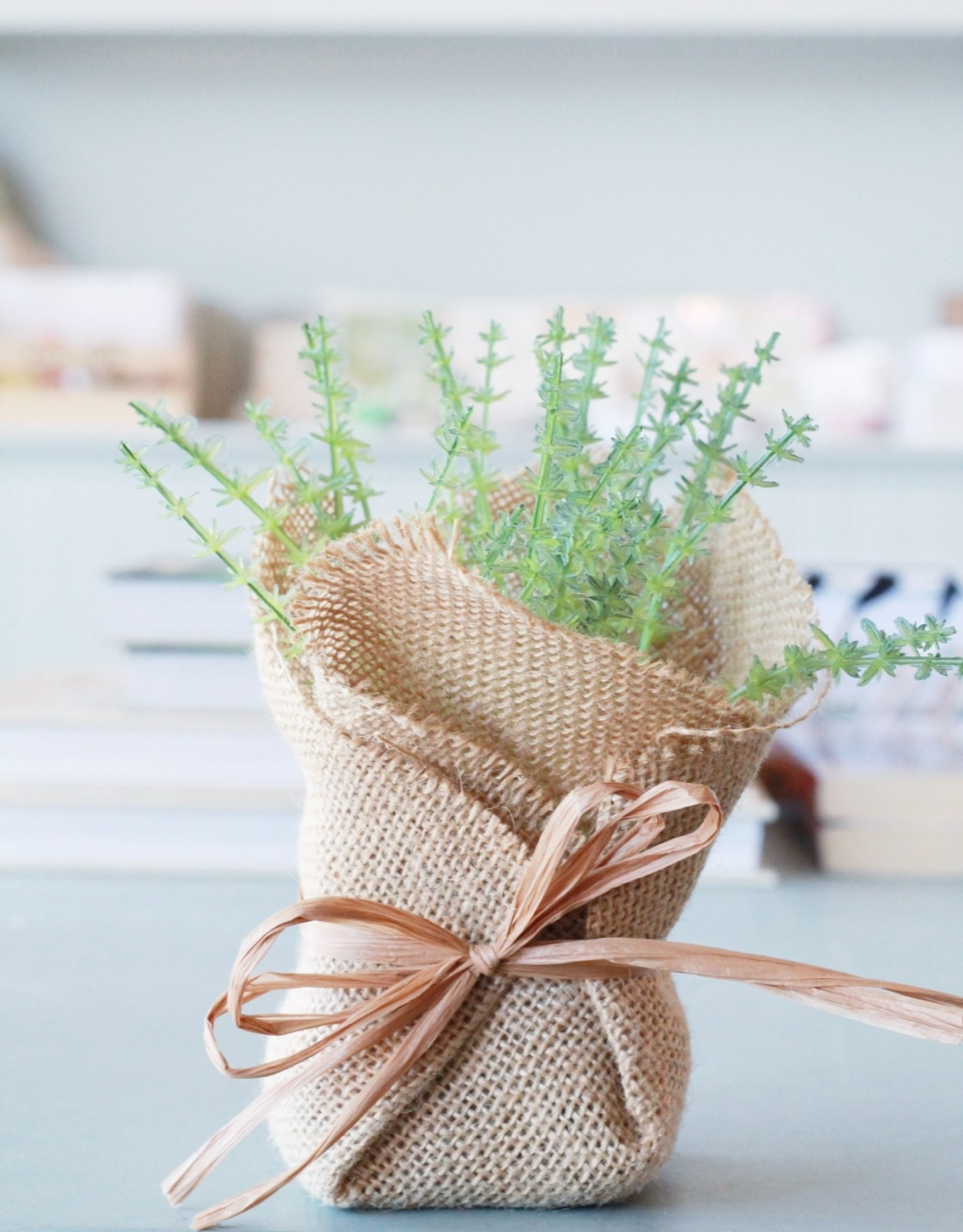 Burlap Wrapped Faux Plants