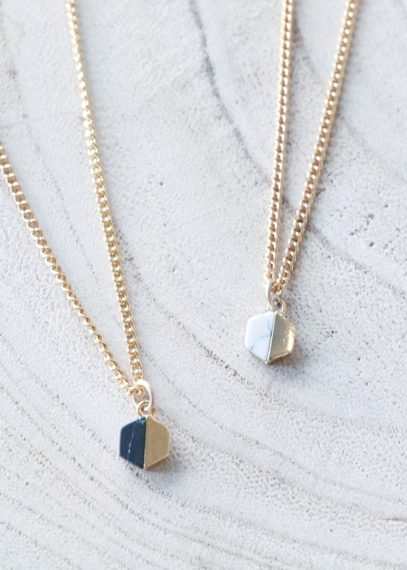 Allison Conway AC Dainty Hexagon Charm Necklace