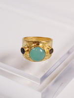 Joya Etruscan Dome Ring- Aqua
