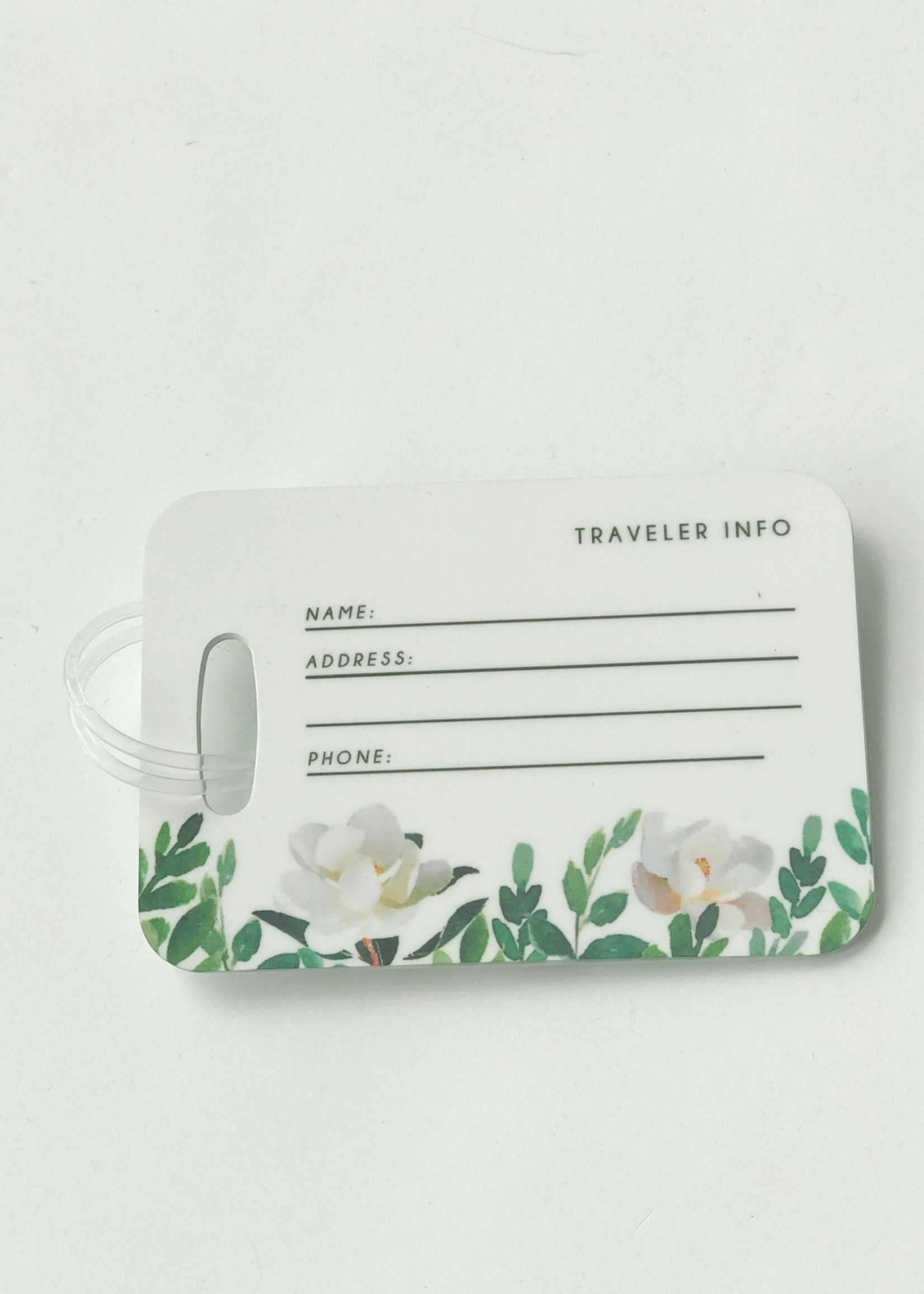 White Floral Luggage Tag