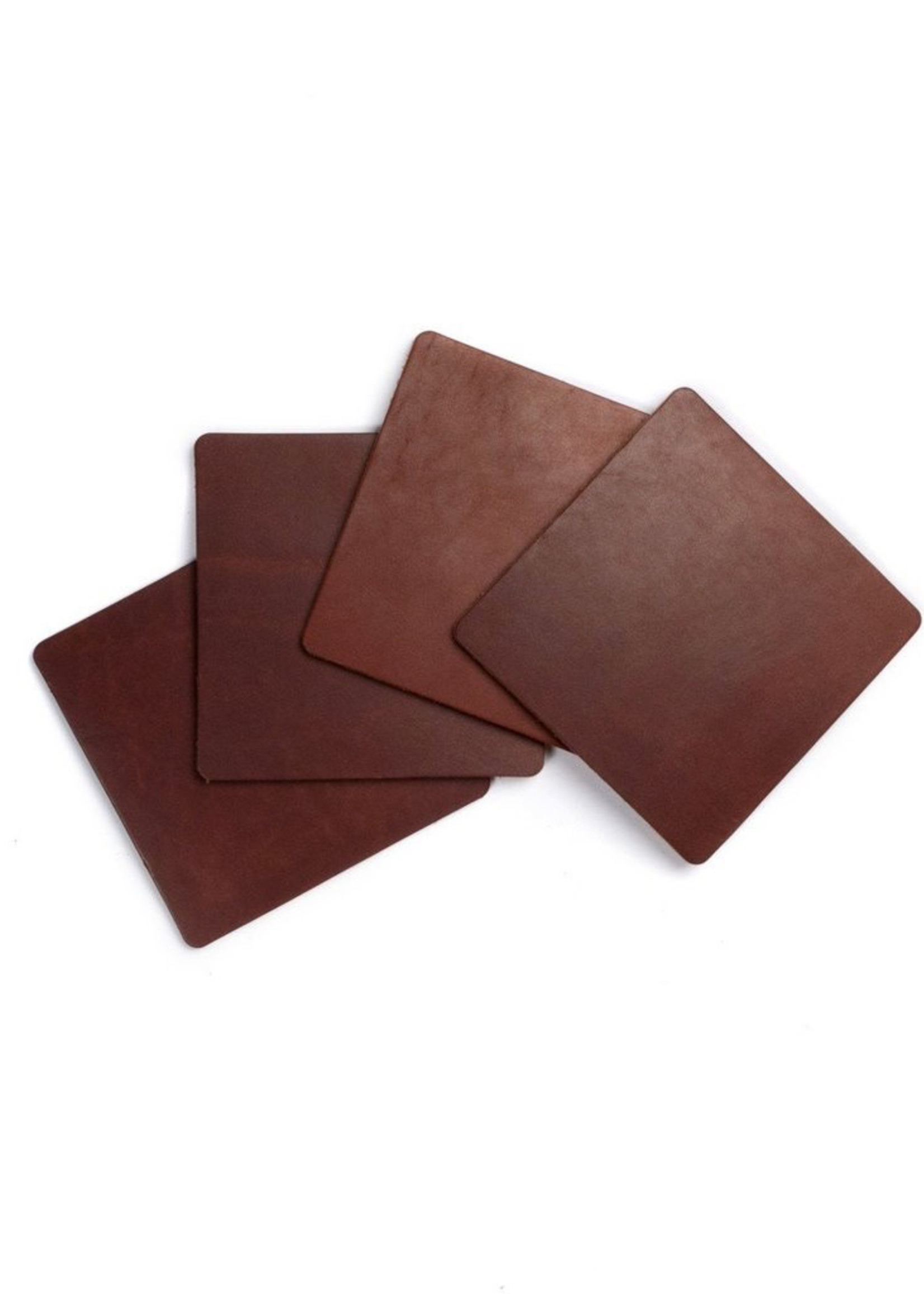 Ultra Leather Coaster Set- Dark Brown