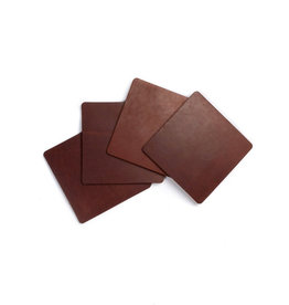 Ultra Leather Coaster Set- Dark Brown
