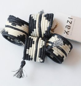 Tasseled B/W Napkin Rings S/4