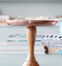 Small Copper Cake Platter with Teak Base