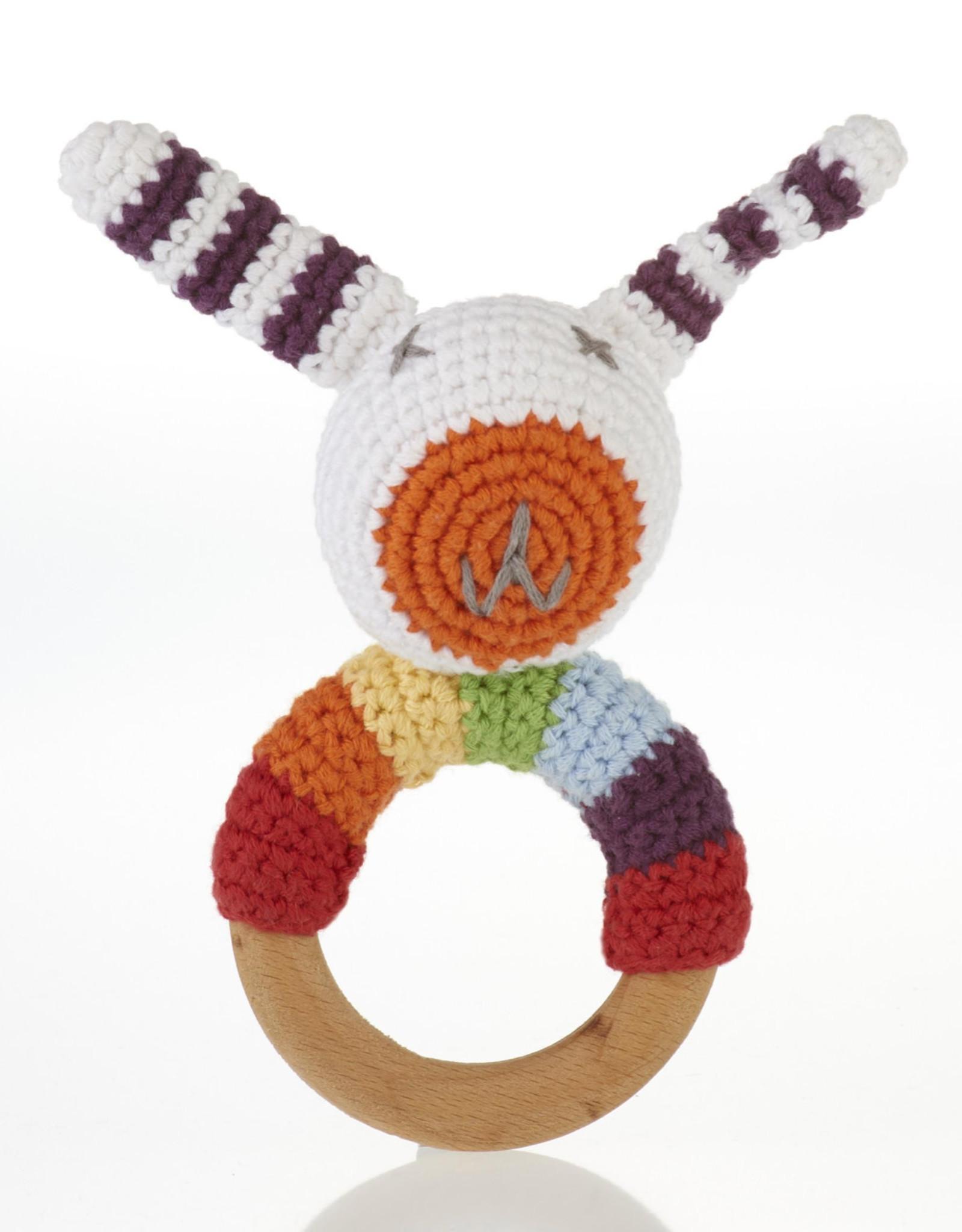 Rainbow Bunny Ring Rattle
