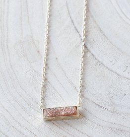 Allison Conway AC Dainty Pink Bar Necklace