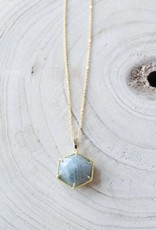 Allison Conway AC Grey Speckled Hexagon Necklace