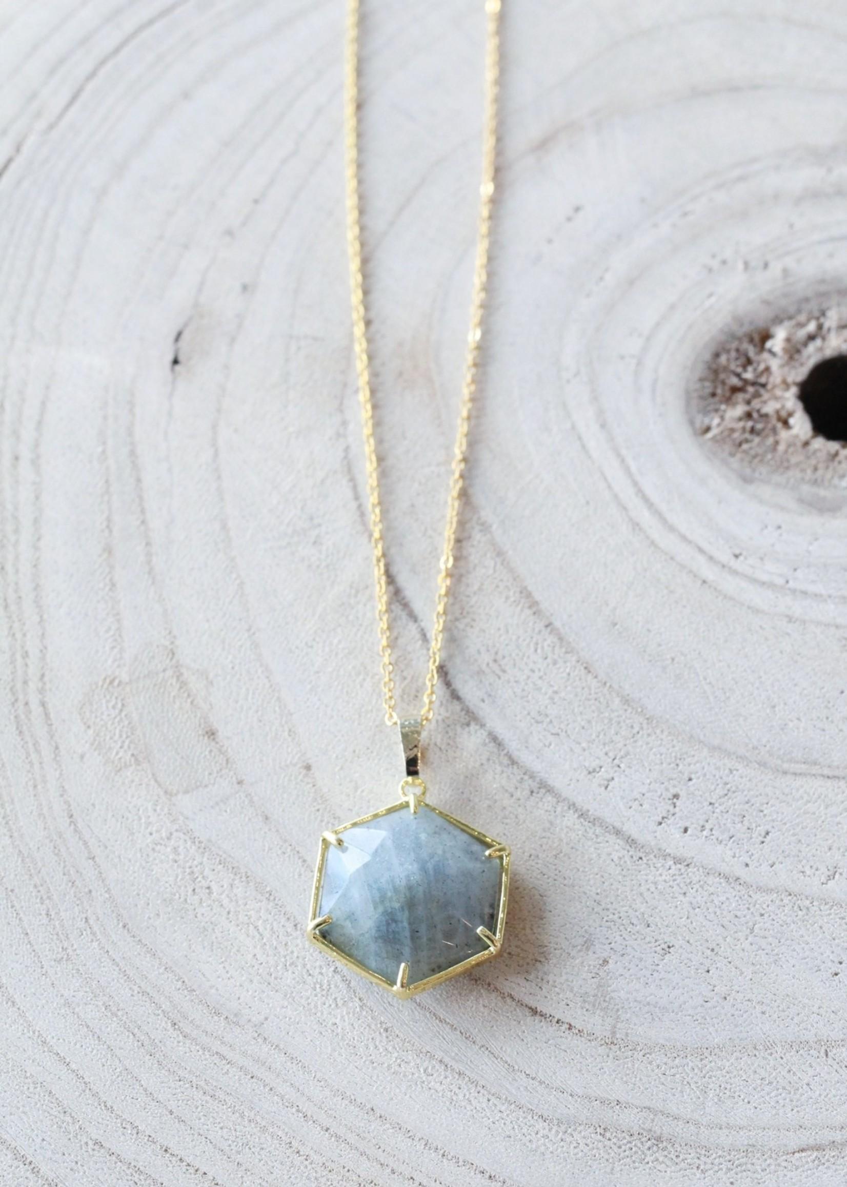 Allison Conway AC Grey Speckled Hexagon Necklace