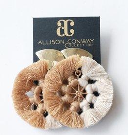 Allison Conway AC Nude Ombre Tassel Wheel Earrings