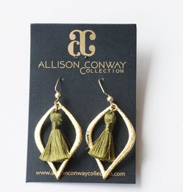 Allison Conway AC Olive Tassel Earrings