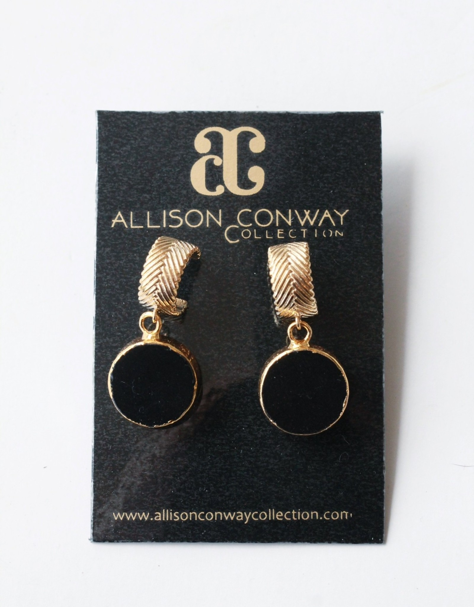 Allison Conway AC Onyx Hoops Earrings