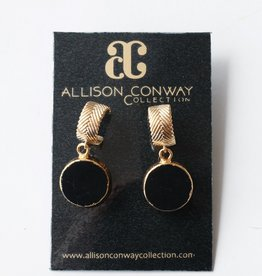 Allison Conway AC Onyx Hoops Earrings