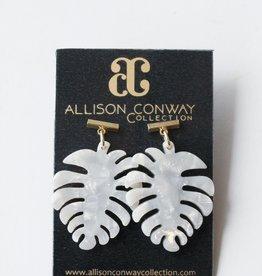 Allison Conway AC Pearl Acrylic Palm Earrings