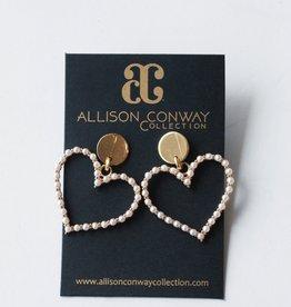 Allison Conway AC Pearl Hearts Earrings