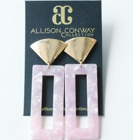 Allison Conway AC Pink Acrylic Rectangle Earrings