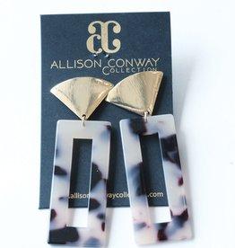 Allison Conway AC Tortoise Acrylic Rectangle Earrings
